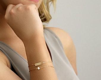 Dainty Pearl Bracelet - Tiny Pearl Bracelet - Delicate Layering Bracelet - 14K Gold Fill - Rose Gold Fill - Sterling Silver