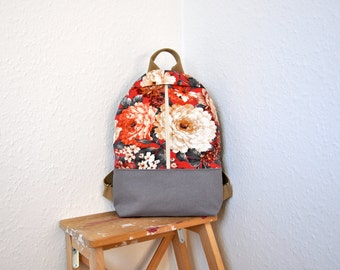 NEW, backpack purse, canvas backpack, backpack with flowers, cotton rucksack, hipster backpack, canvas bag, canvas rucksack, cotton backpack