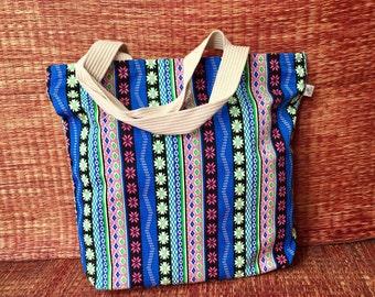 Beach Tote Bag Boho Canvas Hobo Tribal fashion Monogram Handbag Travel market bag School Overnight Shopping Bag Festival gift for her Blue