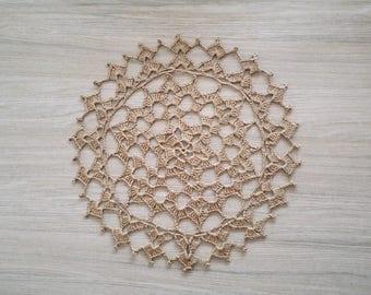 Brown vintage doily, crochet linen doily, brown lace doily, brown linen doily, vintage linen doily, handmade linen doily, linen centerpiece