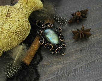 Vintage style Jewelry labradorite Unusual jewelry Wire wrapped Rustic jewelry Gift-ideas-for-her Wife gift Gift-for-mother Retro jewelry