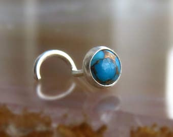Blue Copper Turquoise Nose Stud - Turquoise Nose Screw - Turquoise Piercing