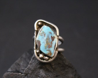 Handmade Sterling Silver and Turquoise Native American Southwestern Boho Ring (AS IS)