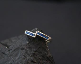 Modern Channel Set Sterling Silver Blue Gemstone Ring, Modern Sterling Bypass Ring, Blue Gemstone Jewelry, Modern Gemstone Ring
