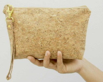 Cork bag, Small recycled cork bag, Cosmetic bag (Nature Colour)