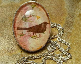 Bird Lover Necklace, Bird Jewelry, Bird Pendant, Oval Cameo, Oval Pendant, Gift for Her, Made in Australia, Nature Lover, Grandma Gift