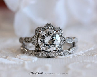 2.56 ct.tw Art Deco Bridal Set Ring-Brilliant Cut Center-Halo Engagement Ring W/ All or Half Eternity Ring-Sterling Silver [65239-2]