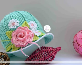 Girls summer hat, Girls sun hat with rose, Girls Panama hat, Crochet Easter Hats, Beach hat girls, Baby Crochet Hat, Crochet Cloche Hat