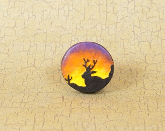 Jackalope at Sunset Pin, Jackalope Pinback Button, Cryptozoology Pin, Jackalope Button, Mythical Creature Pin, Bigfoot Pin, Believe Button