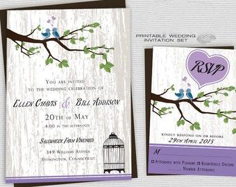Printable Rustic Wedding Invitations, Backyard Wedding Invites, Country Wedding Invite, Purple Heart w/ Love Birds & Birdcage