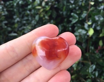 Carnelian Orange Agate Heart Shaped Crystal