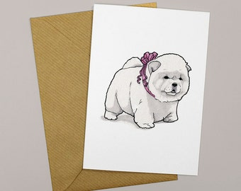 Chow Chow card - Dog card - Birthday card for dog owner - Thanks card for dog lovers - Blank A6 Greetings Card