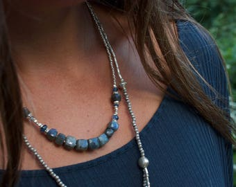 Labradorite + Kyanite Necklace with Thai Hill Tribe Silver Beads + Clasp