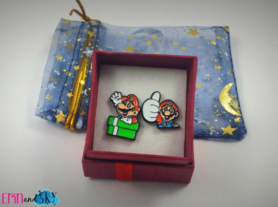 Mario Earrings - FREE SHIPPING - Nintendo Inspired Jewelry Gift - Video Game Jewelry - Gamer Gift - Classic Gaming Post Earrings - Geek Gift