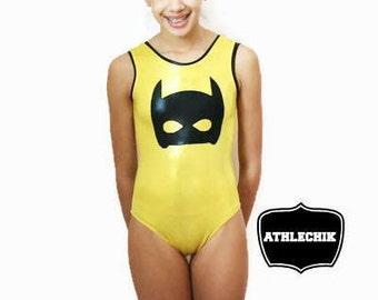 Super hero gymnastics leotard, batman inspired, yellow metallic suit, no sleeve, for tween, teen, girl, youth, training, athlechik, birthday