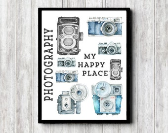 Camera Wall Art - Photographer Gift - My Happy Place Sign - Photography Wall Decor - Quote Art Poster - 16 x 20 - 11 x 14 - 8 x 10 - 5 x 7