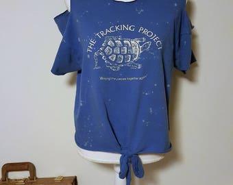Bleached Open Shoulder Graphic Cut-out Shirt