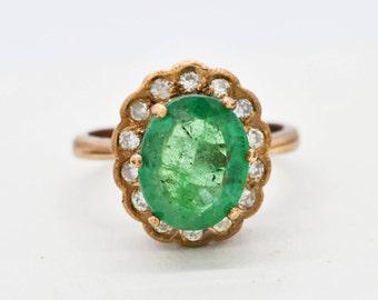 Emerald & Old Diamonds 9KT Rose Gold