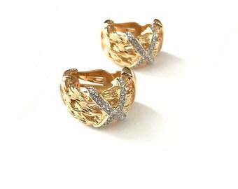 Vintage Half Hoop Earrings // Gold Plated Braided Crystal Earrings // Half Hoop Clip On Earrings