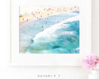 Framed Bondi Beach Photo Print // Aerial Beach Photography // Sunbaking Summer // Large Beach Prints // Beach People  // Baby Blue // Boys