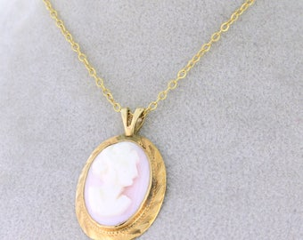 Pretty In Pink Cameo Pendant 14k Gold with 18in chain - CAMPEN10021