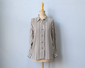 Vintage silk white & brown striped blouse / size 4-6 small / oversize / ONLY AT Bloomingdales / 1990s / 90s minimal / 80s 90s career