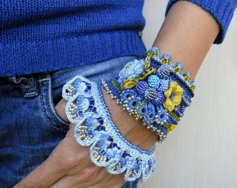 Crochet Bracelet Cuff in Blue with Beads and Flowers, Freeform Crochet Jewelry - Unique Handmade Crochet Bracelet Cuff Perfect Gift for Her