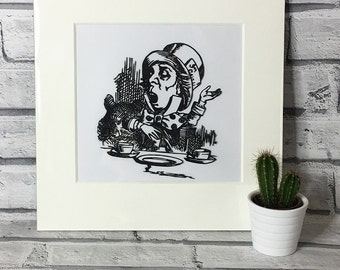 Mad Hatter Wall Art, Alice in Wonderland Original, Paper cut, Illustration, Lewis Carroll Papercut, Cut out, Gift, Decoration, Decor
