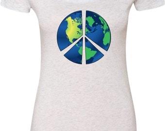 Ladies Peace Shirt Blue Earth Scoop Neck Shirt BLUEEARTH-6730