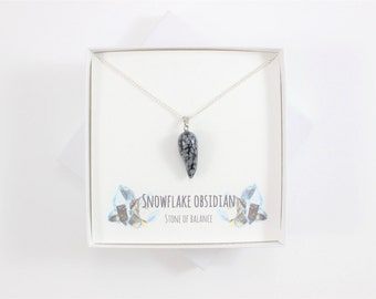 Dainty Snowflake Obsidian Necklace, Stone of Balance, Balance Necklace Gift, Volcanic Necklace, Dainty Layered Necklace, Obsidian Jewellery
