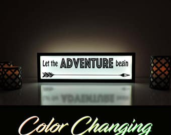 Let the Adventure Begin, Let the Adventure Begin Sign, Adventure Begins, Adventure Awaits, Motivational Quote, New Beginnings, Light Up Sign