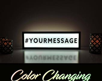 "Custom Message Sign, Hashtag Sign, Social Media Sign, Wedding Hashtag Sign, Custom Message Sign, Light Up Sign, Dorm Room Decor, 36""x11"""