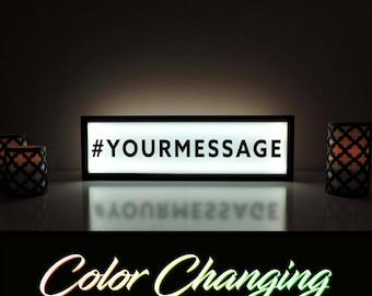 "Custom Message Sign, Hashtag Sign, Social Media Sign, Wedding Hashtag Sign, Custom Message Sign, Light Up Sign, Dorm Room Decor, 36""x11"""