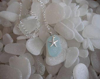 Aqua Sea Glass and Sterling Silver Starfish Necklace from San Juan Island, Washington