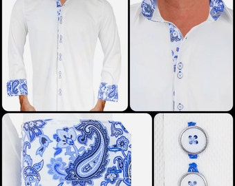 White with Blue Paisley Moisture Wicking Dress Shirt - Made in USA
