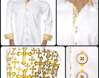 White Designer Dress Shirts for Church  - Made To Order in USA