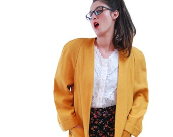 SALE Vintage Jacket.80's Jacket.Vintage Clothing.Jackets.Women Jacket.1980 Jacket.Mustard Elegant Vintage Jacket For Women 1980s. Size OS