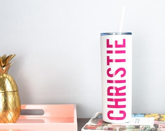 Custom Stainless Tumbler - White, Workout Water Bottle, Custom Water Bottle, Hydrate, Skinny Tumblers, Bridesmaid Tumbler, Team Bride