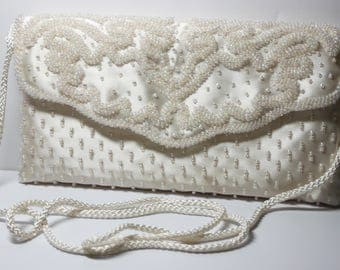 Ivory/Cream Silk Evening Bridal Clutch-Iridescent Beads-Valerie Stevens