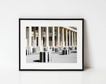 Paris Photography, Palais Royal Courtyard, Large Wall Art, Gallery Wall Prints, Framed Wall Art, Paris Decor, Black and White