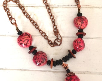 Hot Pink Nut Bead Necklace - Hot Pink & Black Mixed Media Necklace - Long Necklace - Gift for Her - Handmade -  Statement Necklace -  OOAK