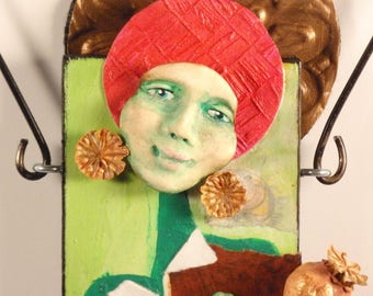 Mixed Media Art Doll - Spirit Doll - Abstract Collage  Doll - Assemblage Doll - JOY