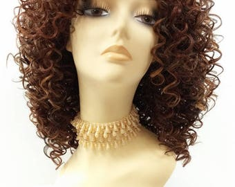 Long 15 inch Long Curly Dark Brown with Copper and Light Auburn Heat Resistant Wig. Synthetic Fashion Wig. [91-465-Camile-4/27/30]