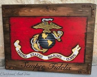 United States Marine Corps Flag-USMC-Pallet Board-Military-Semper Fidelis-Art-Rustic Barnwood-Man Cave-Flags-Reclaimed Wood-Hand Painted
