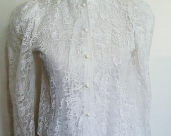 White lace blouse, S, 70's blouse, 70s lace blouse, 70s top, white blouse, lace top, white top, white blouse, romantic top, Steampunk top