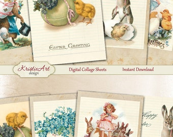 75% OFF SALE Easter Time - Digital Collage Sheet Digital Cards C210 Printable Download Spring Tags Digital Atc Cards ACEO Easter Cards
