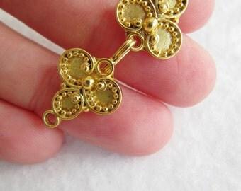 Fermoir en vermeil doré, crochet et oeil GRAND GRAND 37 x 13 bracelet de luxe orné fermoir Bali balinaise concepteur bascule argent 925, bijou UK Europe