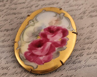 Vntg Antqiue Handpainted Porcelain Roses Brooch | Late Victorian | Big Pink Flowers Pin