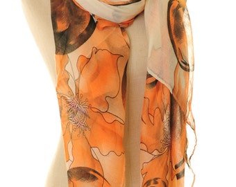 Flower Scarf | Infinity Scarf | Boho Scarf | Light Scarf | Voile Scarf | Beach Wrap | Spring Scarf | Gift Scarf S-138