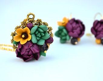 Succulent necklace pendant jewelry. Planter necklace jewelry. Plum peonies necklace. Succulent gold necklace. Rustic forest necklace jewelry
